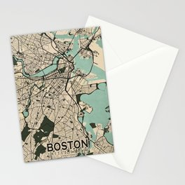 Boston City Map of the United States - Vintage Stationery Cards