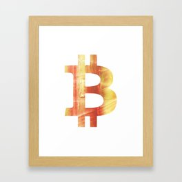 Bitcoin Red Yellow colorful watercolor texture Framed Art Print