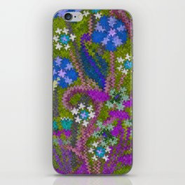 Starry Floral Felted Wool, Moss Green and Violet iPhone Skin