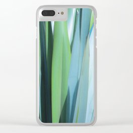 blue and green leaves Clear iPhone Case