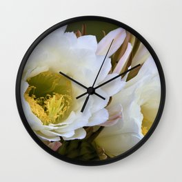 Dreamy Large White Cactus Flowers by Reay of Light Wall Clock