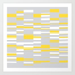 Mosaic Rectangles in Yellow Gray White #design #society6 #artprints Art Print