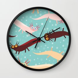 pattern Cute orange pink brown Axolotl Cartoon character on blue background in the aquarium Wall Clock