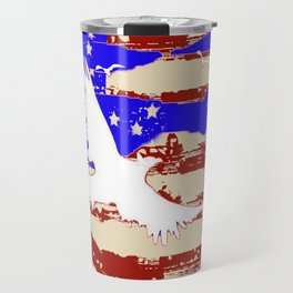 AMERICANA FLAG & WHITE EAGLES FROM  SOCIETY6 BY SHARLESART. Travel Mug