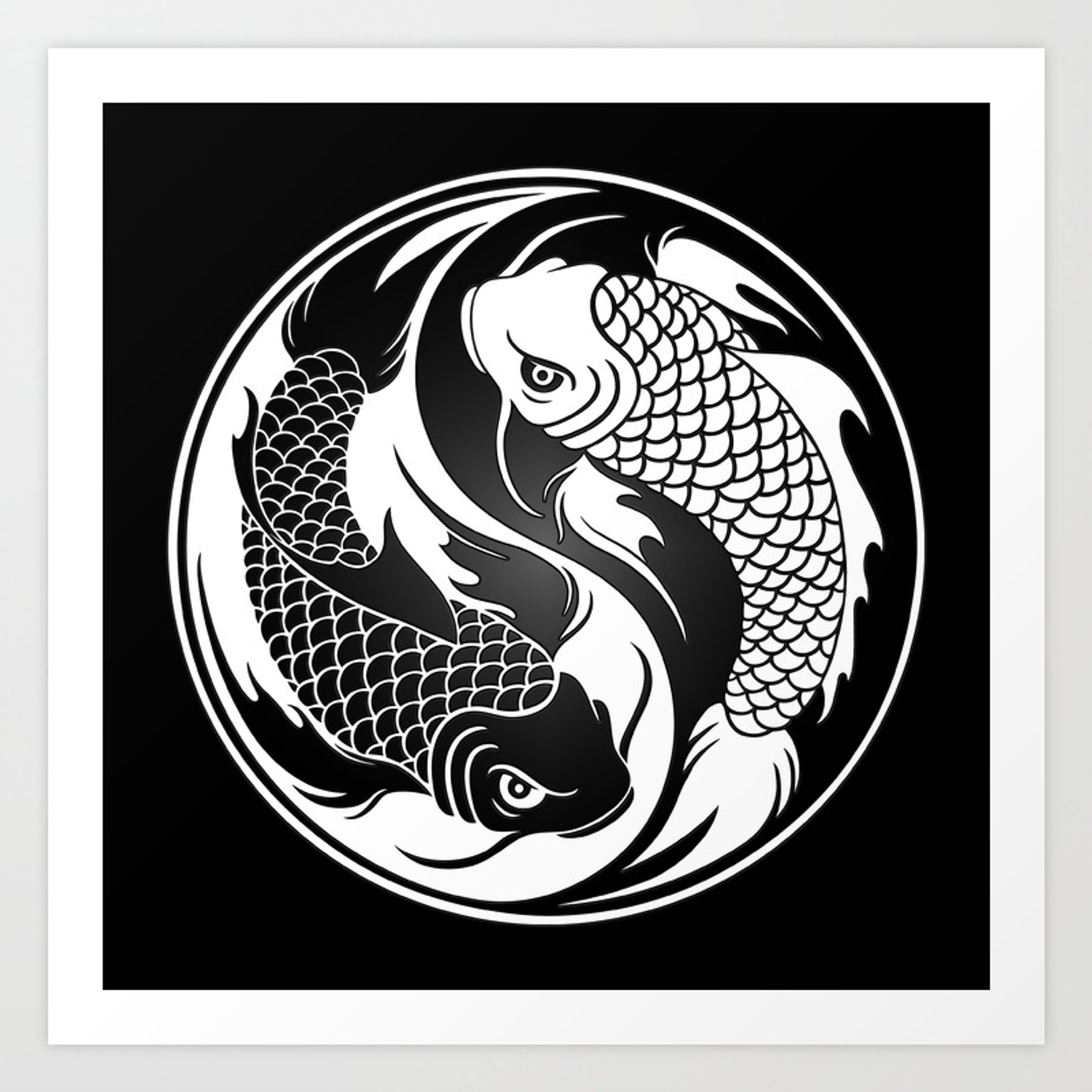 White And Black Yin Yang Koi Fish Art Print By Jeffbartels Society6