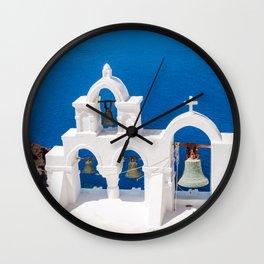 Oia Santorini Greece Church Bells Wall Clock
