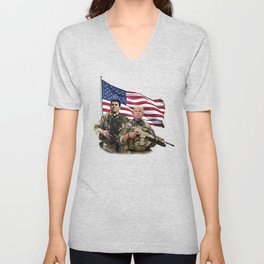Presidential Soldiers: Ronald Reagan & Donald Trump USA Flag Unisex V-Neck