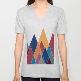 Colourful geomatric mountains Unisex V-Neck