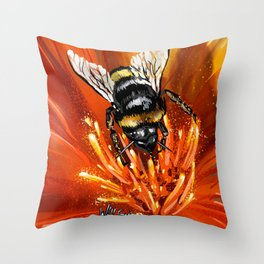 Bee on flower 1 Throw Pillow