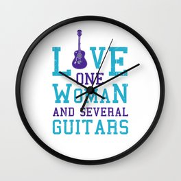 Love One Woman Several Guitars Accoustic Guitar Guitarist Classical Electronical Wall Clock