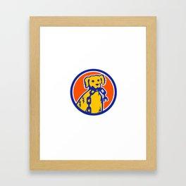 Retriever Dog Biting Broken Chain Mascot Framed Art Print