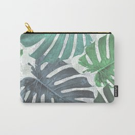 Monstera palm blue leaves Carry-All Pouch