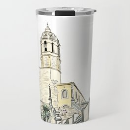 Stairs to the Beach from a medieval Church in Sitges near Barcelona Travel Mug