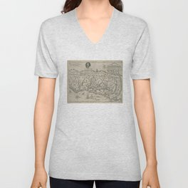 Vintage Map of Virginia (1651) Unisex V-Neck