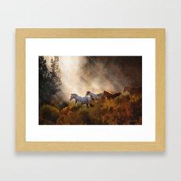 Horses in a Golden Meadow by Georgia M Baker Framed Art Print