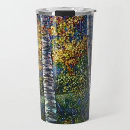 A Midsummer Dream Aspen Trees Palette Knife Painting  Travel Mug