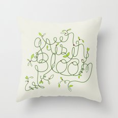 Green is in Bloom Throw Pillow
