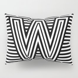 Track - Letter W - Black and White Pillow Sham