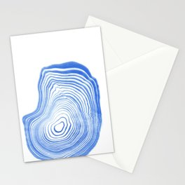 Ryu - spilled ink indigo watercolor painting abstract art marble swirl ocean wave marbled pattern  Stationery Cards