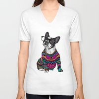 frenchie V-neck T-shirts featuring hipster frenchie by Huebucket