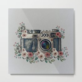 Camera with Summer Flowers Metal Print