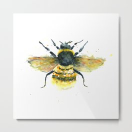 Bumblebee Art - Watercolor Bumblebee Art Metal Print