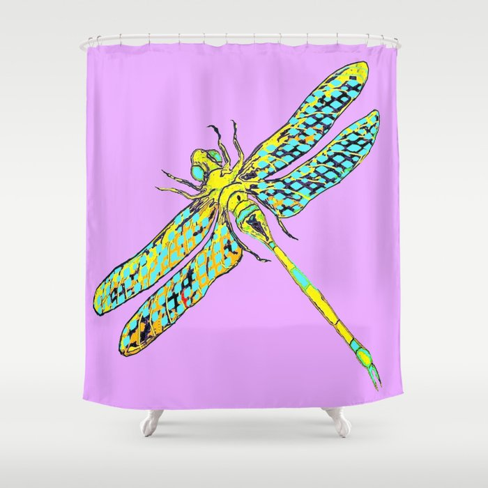 Yellow & Aqua Fantasy Dragonfly in Ambient Lilac-Pink  Shower Curtain