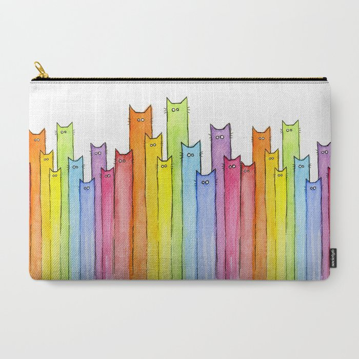 Cat Rainbow Watercolor Pattern Carry-All Pouch
