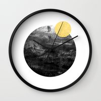 ripley Wall Clocks featuring Ripley - abstract marble texture india ink painting minimal white and black with gold canvas art by CharlotteWinter
