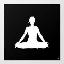 yoga pose chakra black and white silhouette  Canvas Print