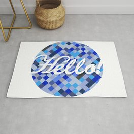 Welcoming Hello sign over a blue tone background. Rug