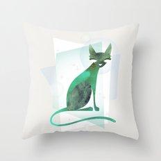 Mid-Century Feline Throw Pillow