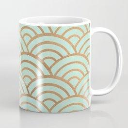 Japanese Seigaiha Wave – Mint & Copper Palette Coffee Mug