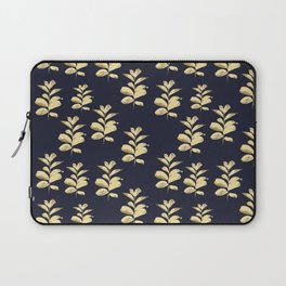 Golden Branches on Dark Blue Laptop Sleeve