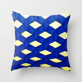 Trapez 2/5 Blue & Yellow by Brian Vegas Throw Pillow