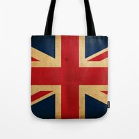 union jack Tote Bags featuring Union Jack by NicoWriter