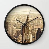 new york skyline Wall Clocks featuring New York City Skyline by Vivienne Gucwa