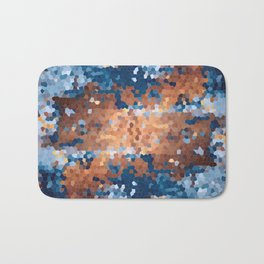 Copper and Denim Abstract Bath Mat