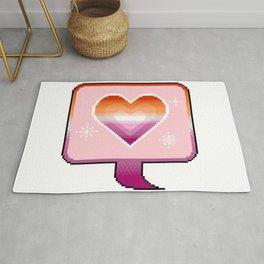 Lesbian Pride Heart Speech Bubble Rug