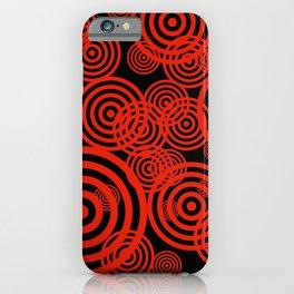 Hypnotizing circles - red on black iPhone Case