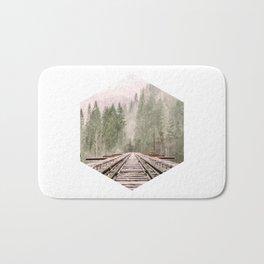 Geometric railroad and trees illustration Bath Mat