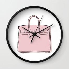 Dusty Rose / Pink Birkin Vibes High Fashion Purse Illustration Wall Clock