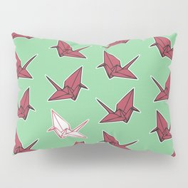 PAPER CRANES RASPBERRY MINT Pillow Sham
