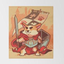 Corgi knight Throw Blanket