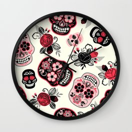 Sugar skulls black and red roses pattern Wall Clock
