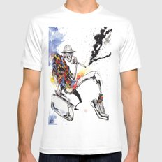Hunter S Thompson by BINDU Mens Fitted Tee White LARGE