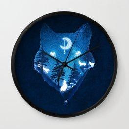 Moon Wolves Wall Clock