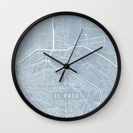 El Paso Map, USA - Red Wall Clock