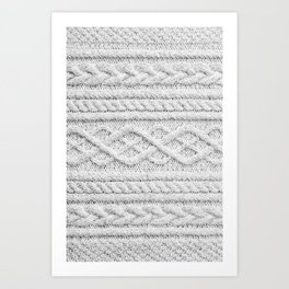 White Knitted Wool Art Print