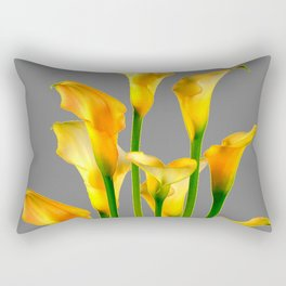 DECORATIVE GOLDEN CALLA LILY FLOWERS ON GREY ART Rectangular Pillow